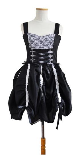 Vestido Gótico Kawaii Gothic Lolita Alternativo Dark Negro