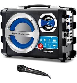 Caixa De Som Mp3 Amplificada Usb Microfone Karaokê Rádio Fm