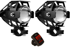 Par Farol Milha Universal Led U5 Auxiliar Moto Xenon