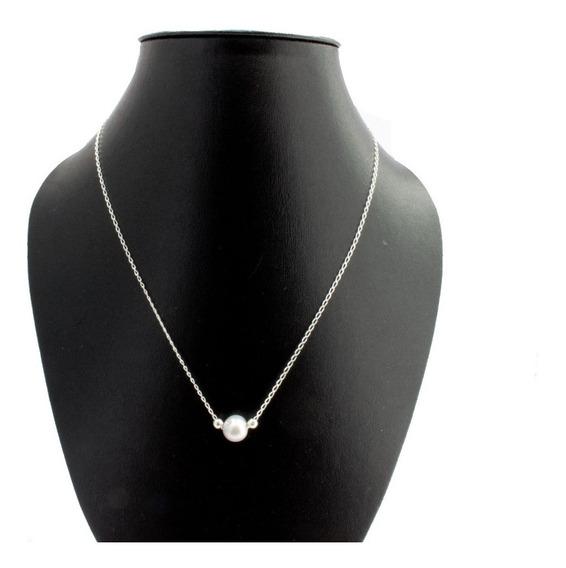 Collar De Perla ( Cadena Plata Ley .925)