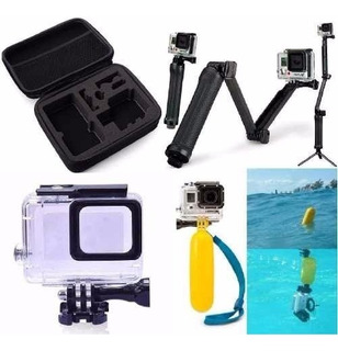 Kit Gopro Hero 5 6 7 Black Caixa Estanque Bastão 3 Way Case