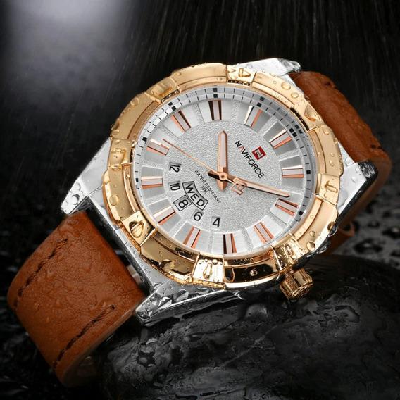 Relógio Esportivo Pulseira Couro Nf 9118 Autodata Aaixa Aço