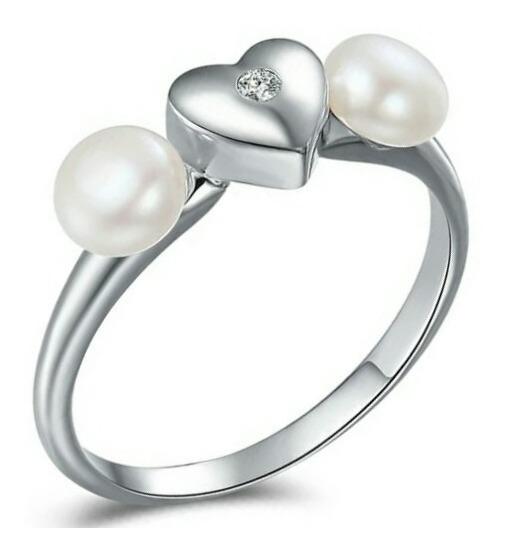 Anillo Corazón Con Dos Perlas Naturales De Plata .925 Mujer