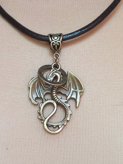 Colar De Couro C/ Pingente Bronze Envelhecido Dragão Chinês