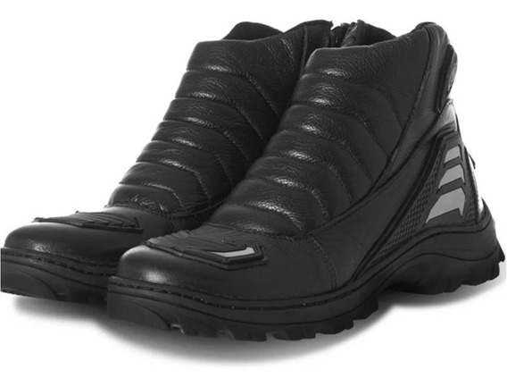 Bota Moto Combat Street 100% Cuero Negro Pro Tork