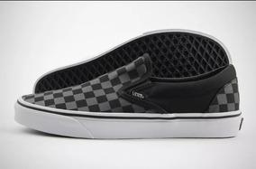 Vans Slip On Negro-gris Checkerboard/cuadros
