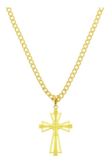Corrente Masculina 60cm Pingente Crucifixo Folheado Ouro 18k