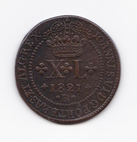 Moeda X L Réis 1821 R Cobre - S