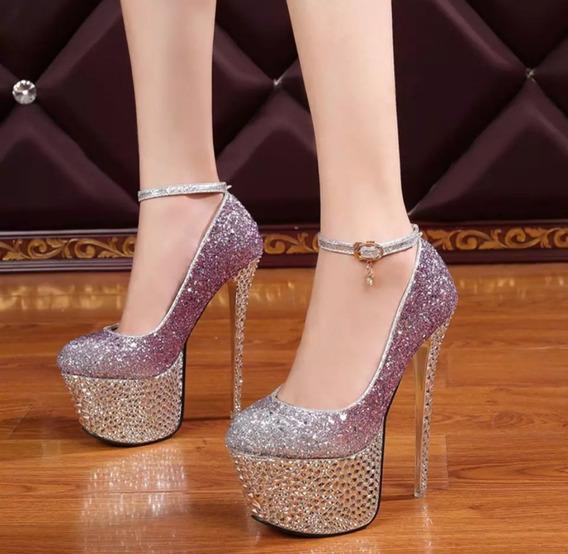Sapato Feminina Importado Salto Super Luxo - Frete Grátis
