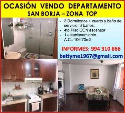 Vendo Departamento De San Borja Monterrico Norte Zona Top