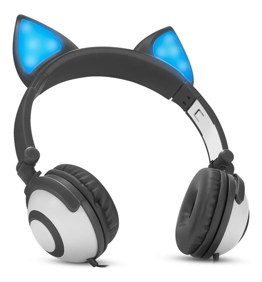Headphone Cosplay Orelha De Gato Com Led - Exbom Hf-c30
