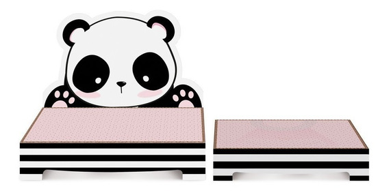 Kit 2 Suportes P/doces Panda Decoração Festas