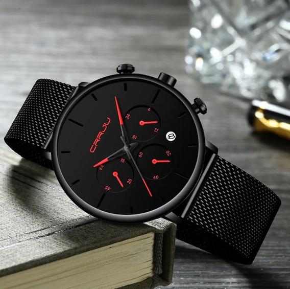 Relógio Masculino Social Analogico Moderno Vermelho Original