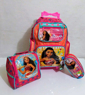 Kit Escolar Moana Mochila Estojo E Lancheira Chenson