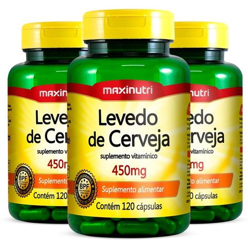 Imagem 1 de 3 de Levedo De Cerveja 450mg - 3x 120 Cápsulas - Maxinutri