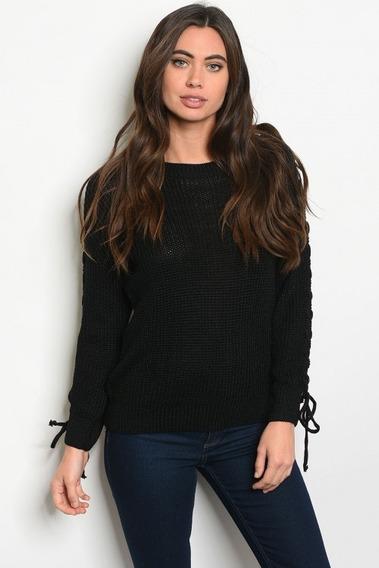 Sweater Negro Con Cintas En Las Mangas Importado