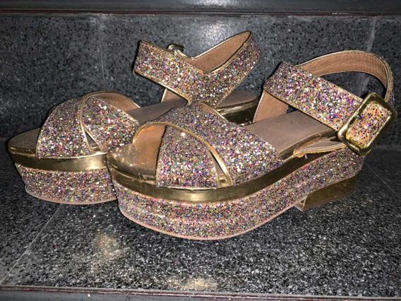 Sandalias Paruolo Glitter Dorado Plataforma Noche Talle 35