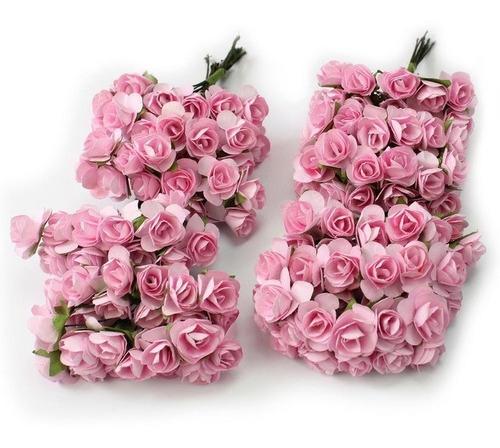 144 Mini Rosa De Papel Cor De Rosa Decoração Festas