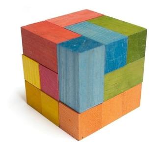 Cubo Soma De Colores O Natural De Madera, Material Didáctico