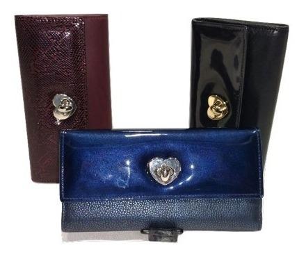 Billetera Dama Cuero Vacuno Charol Crocco Guns Leather