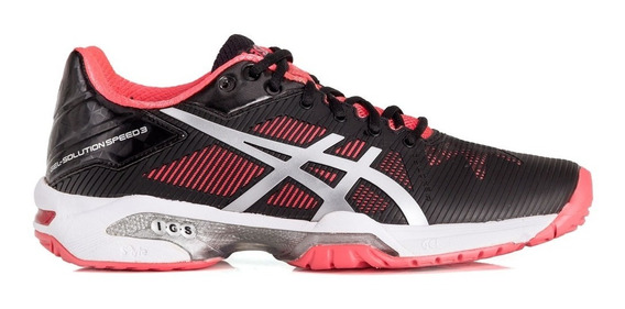 Tênis Asics Gel Solution Speed 3 Preto E Coral