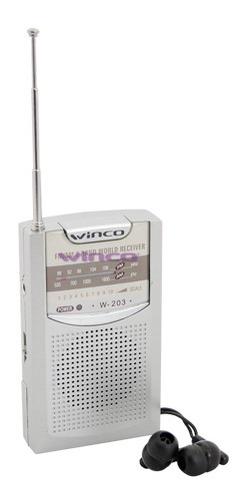 Imagen 1 de 6 de Radio Portatil Am Fm Parlante Con Auriculares Winco W-203