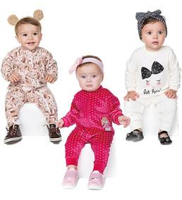 Roupas De Bebê Menina Macaquinho Longo Inverno Kit 3 Peças