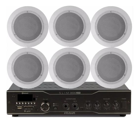 Kit Sonorização Ambiente Frahm Slim3000+6 Arandela 55w Som*
