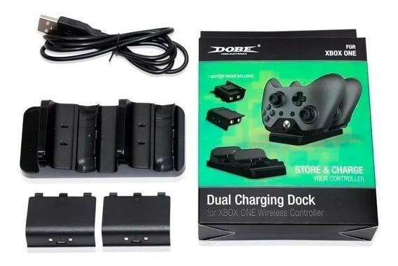 Carregador Controle Xbox One Dock Duplo Com 2 Baterias Cabo