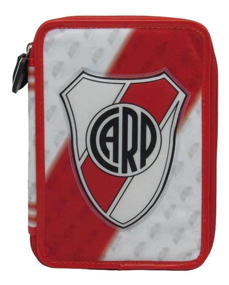 Cartuchera River Plate Escolar Pvc 2 Pisos Licencia Oficial