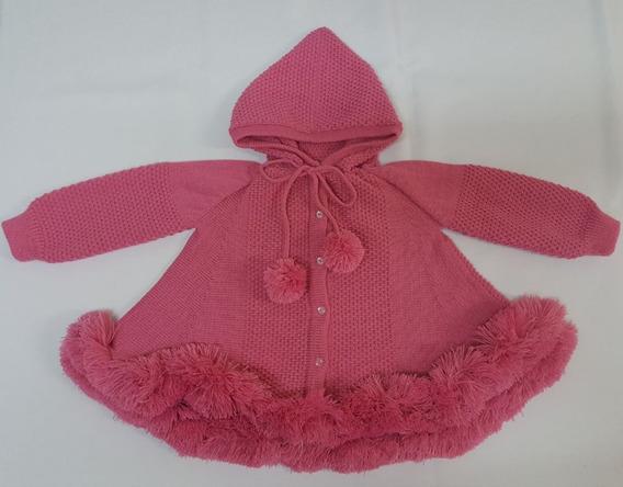 Casaco (trapézio) Para Bebê Rosa Soft Com Capuz Tricot