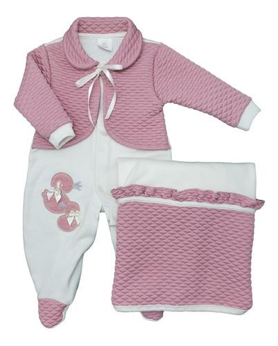 Imagem 1 de 1 de  Saída Maternidade Suedine Cisnes - Presente De Anjo 24554