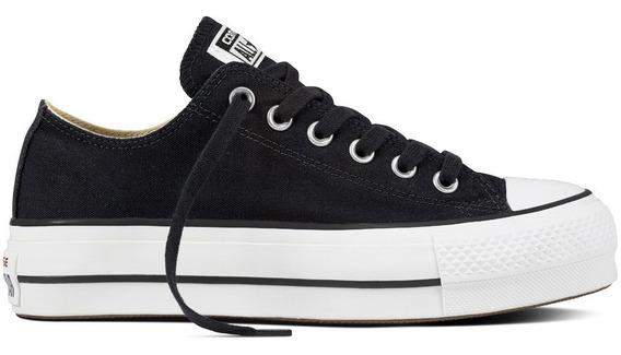 zapatos converse mujer negros plataforma