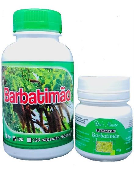 Kit Pomada 100 Cápsulas De Babatimão Barbatimão