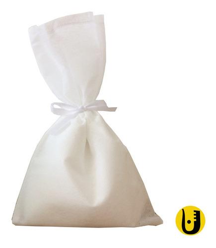 Imagem 1 de 1 de 50 Saquinhos Sacolinhas Tnt 15x23 Branco Fita Cetim Branco