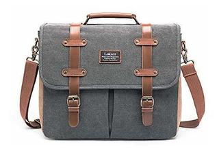 Lokass Mens Messenger Bag 156 Pulgadas Lienzo De Cuero Bolsa