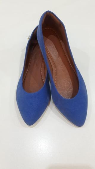 Sapatilha Feminina Azul Elegante Com Bico Fino, Detalhe Maça