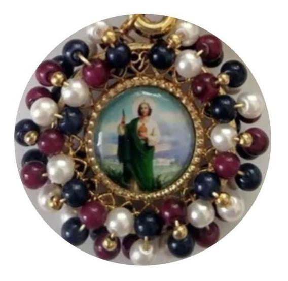 Medalla De San Judas Tadeo Con Cristales O Perlas