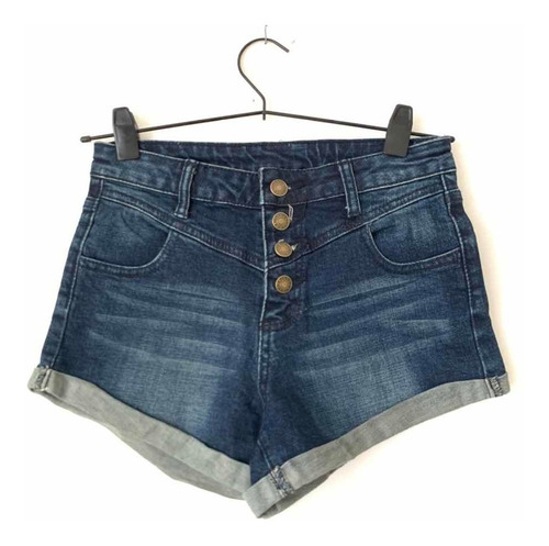 Short Jean Elastizado Cintura Alta Con Botones