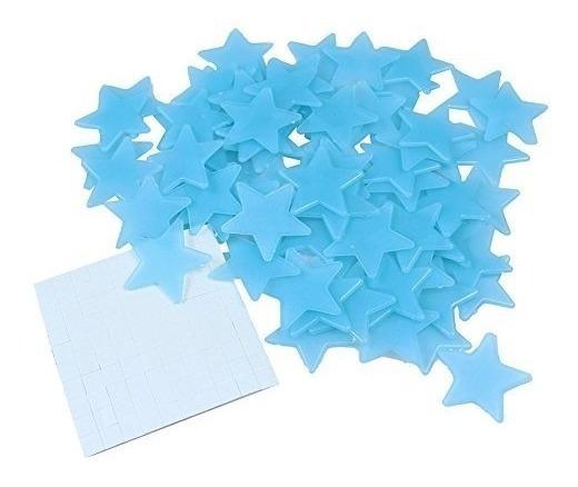 100 Estrelas Neon Fluorescente Adesivo Decoração Teto Azuis
