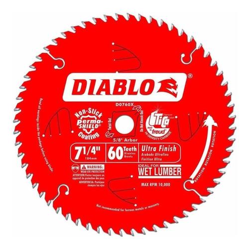 Imagen 1 de 1 de Disco Sierra Diablo 7 1/4 Pulgs 60 Dientes Acabado Ultrafino