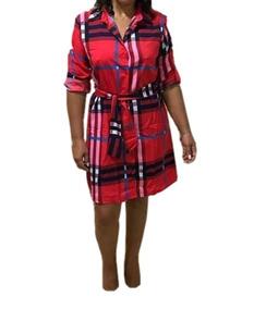Vestido Xadrez Chemise Blogueira Moda Evangélica Feminina