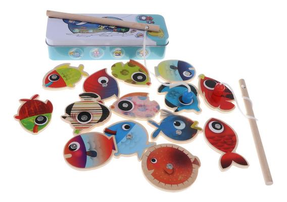 16 Pieces Bebê Magnético Jogo Magnético Pescaria De Madei