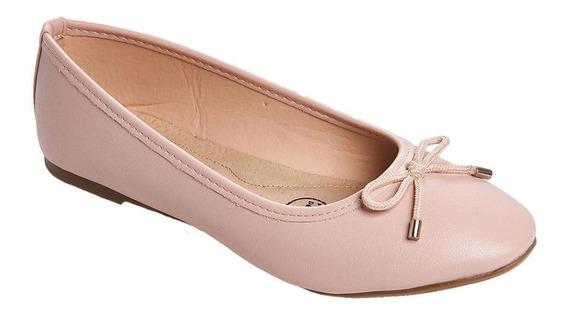 Flats Moño Casual Mujer Tipo Piel Rosa