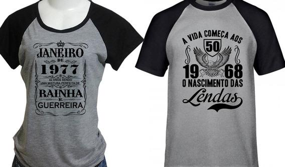 Kit 2 Camisetas Ano E Mês Do Nascimento: Personalizáveis.