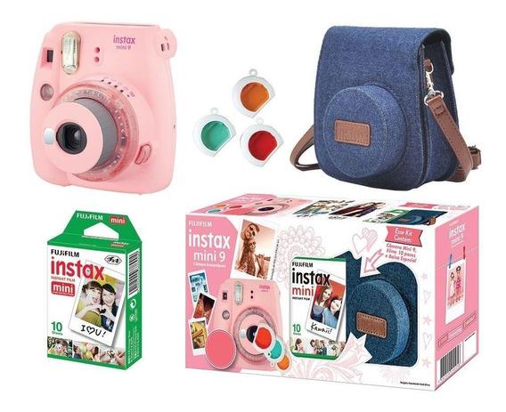 Kit Câmera Instax Fujifilm Mini 9 + 10 Filmes + Bolsa Rosa C/ Garantia Lacrado
