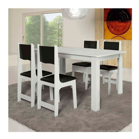 Conjunto Sala De Jantar Mesa E 4 Cadeiras Nicoli Soneto Móv