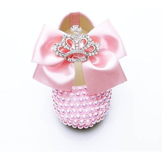 Sapatilha Customizada Rosa Dama De Honra Daminha Coroa Stras