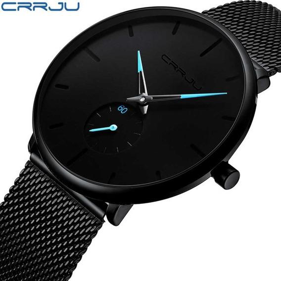 Crrju Relógio De Quartzo Masculino De Aço Inoxidável Ultra-f