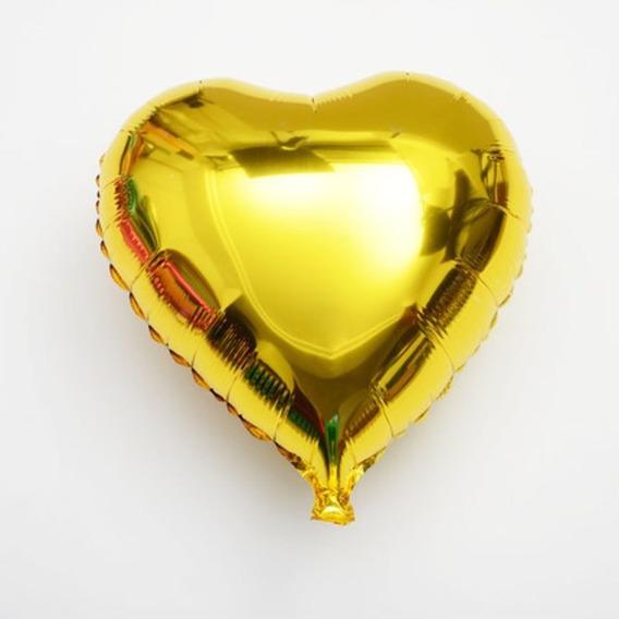 Globos Metalizados Corazones De 10 Pulgadas (25 Cm) Dorado